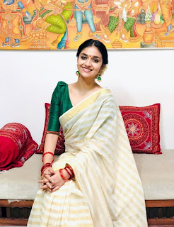 Keerthy Suresh in Saree with Cute and Awesome Lovely Smile 3