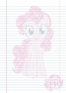 Folha Papel Pautado Little Poney da Pinkie Pie rabiscado em PDF para imprimir na folha A4