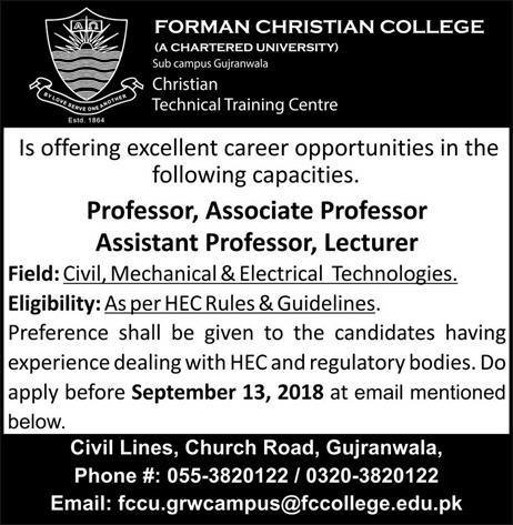September 2018 Jobs in Forman Christian College  ,