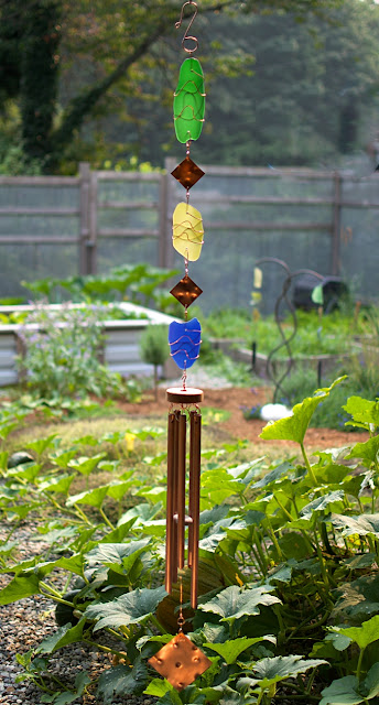 Glass and copper colourful large outdoor wind chime by Coast Chimes