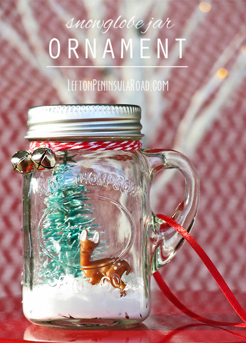Make a Christmas tree ornament from a miniature mason jar.