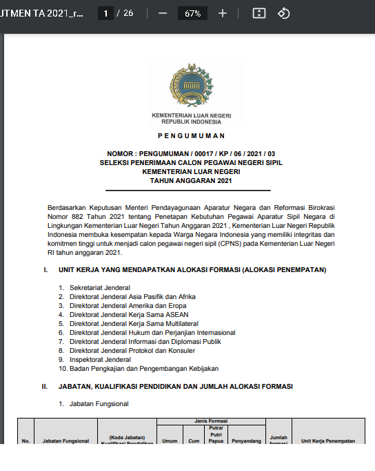 Lowongan Kerja CPNS Kementerian Luar Negeri Tahun Anggaran 2021