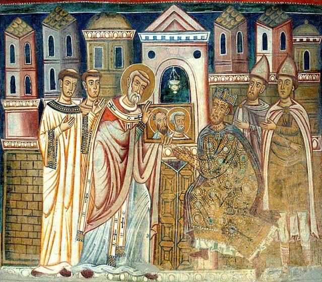O Papa São Silvestre I  mostra a Constantino as cabeças de São Pedro e São Paulo