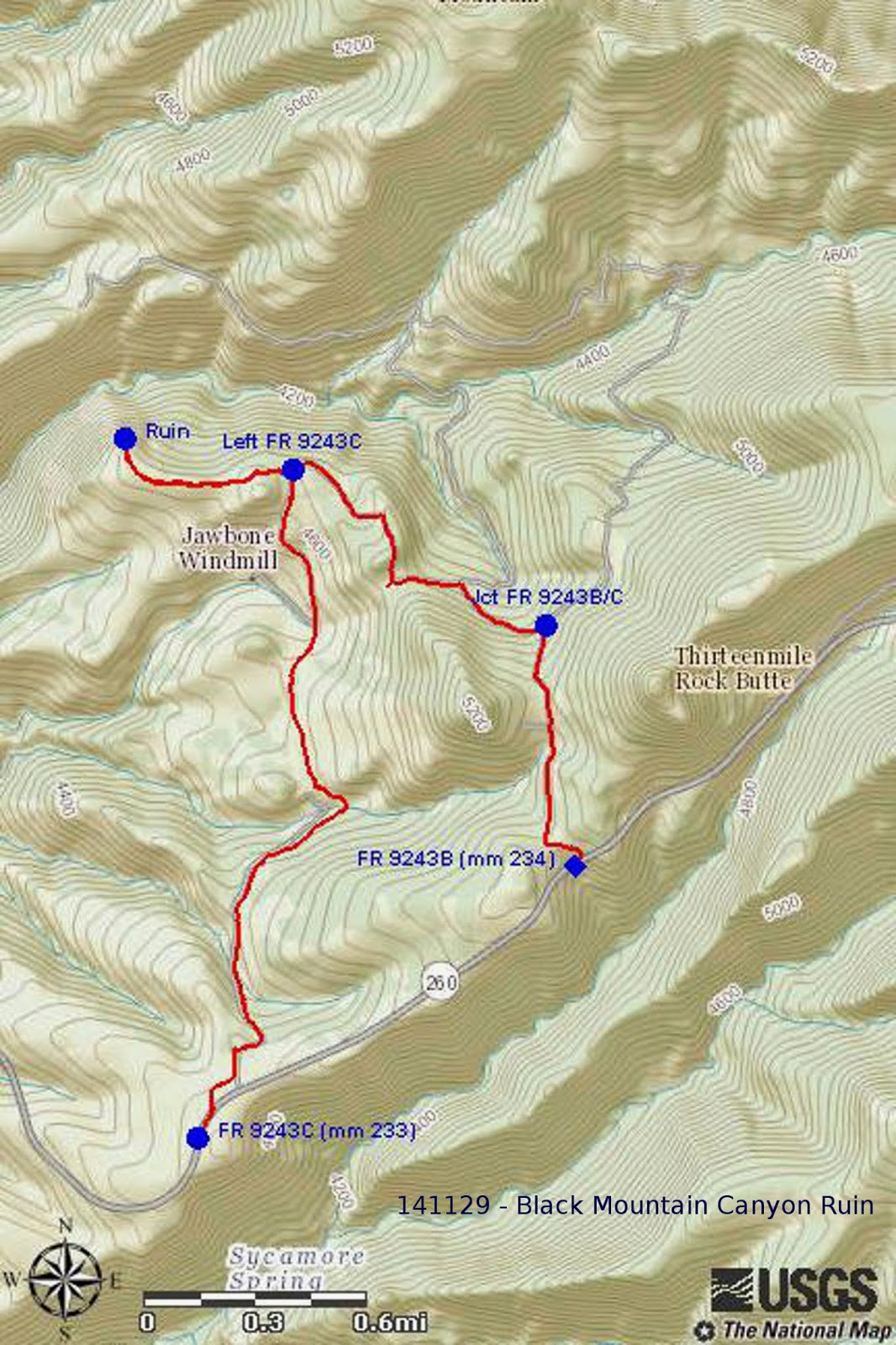 our gps track is shown in red on the included map next page and various points of interest are labeled