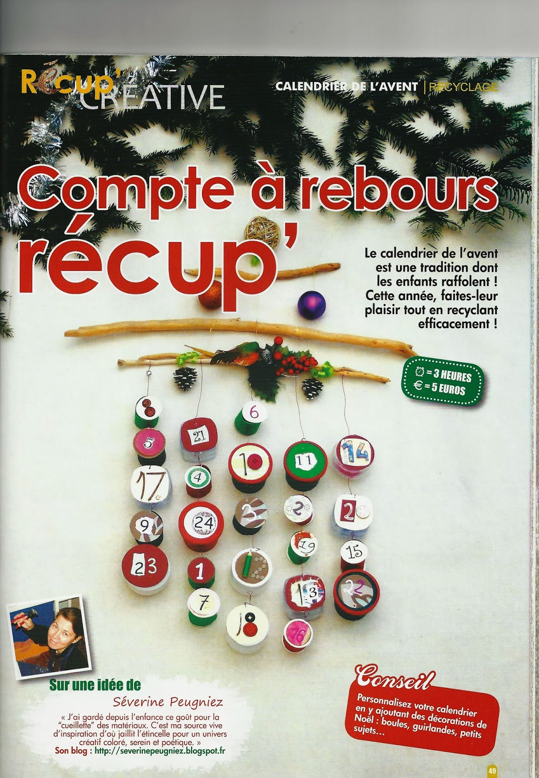 mon calendrier de l 39 avent r cup 39 dans le magazine cr ative. Black Bedroom Furniture Sets. Home Design Ideas