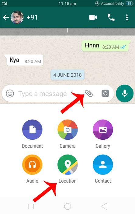 Whatsapp par location share kaise kare