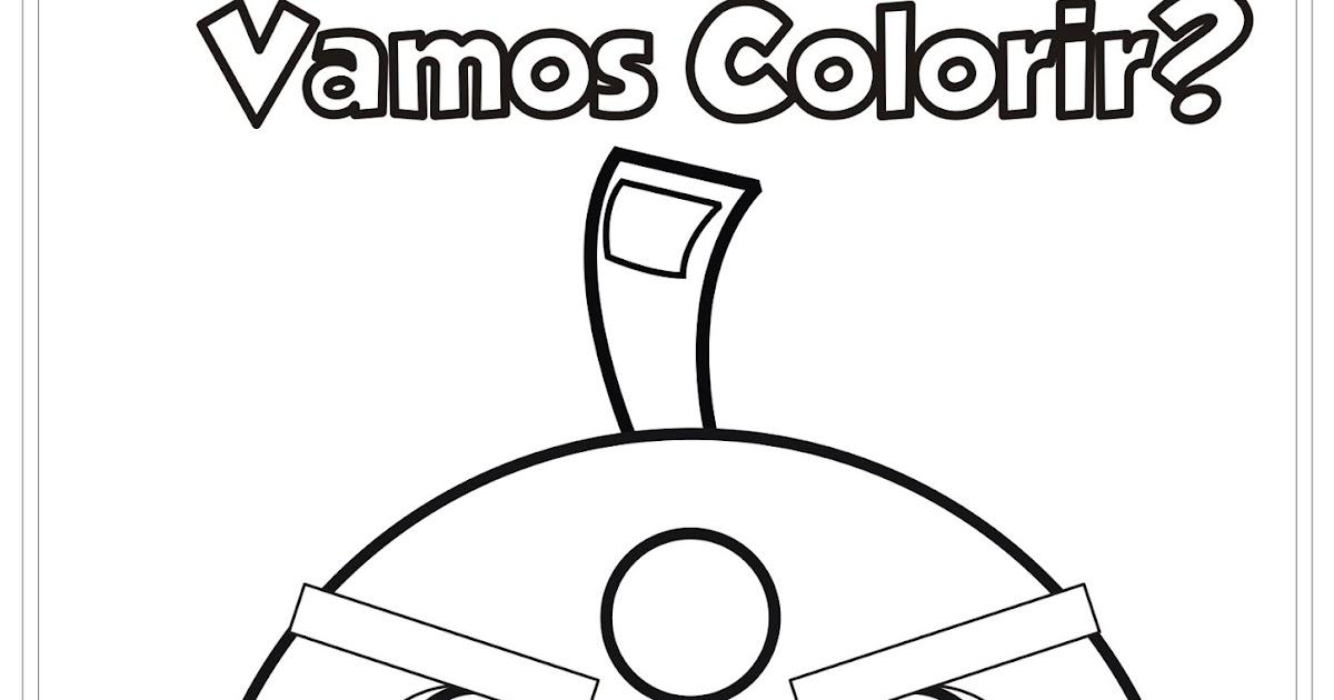 Desenho Angry Birds Menina Para Colorir: Desenho Angry Birds Bomb Para Colorir