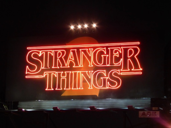 Stranger Things 2 neon sign billboard installation