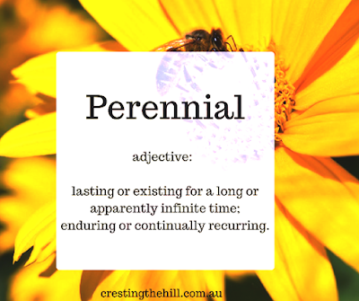 perennial - adjective 1. lasting or existing for a long or apparently infinite time; enduring or continually recurring.