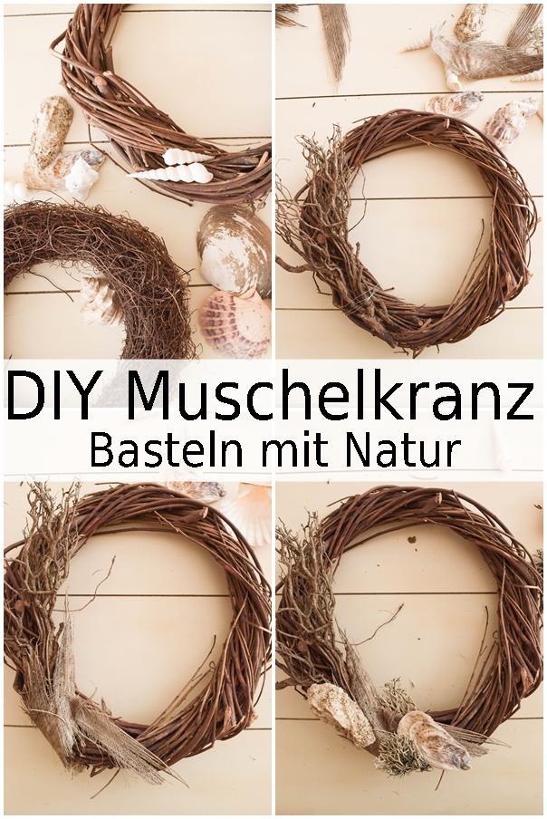DIY Kranz aus Muscheln: Muschelkranz basteln. Sommer Deko Dekoidee selbermachen, Naturdeko