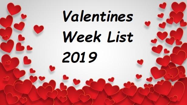 Valentines Week List 2019