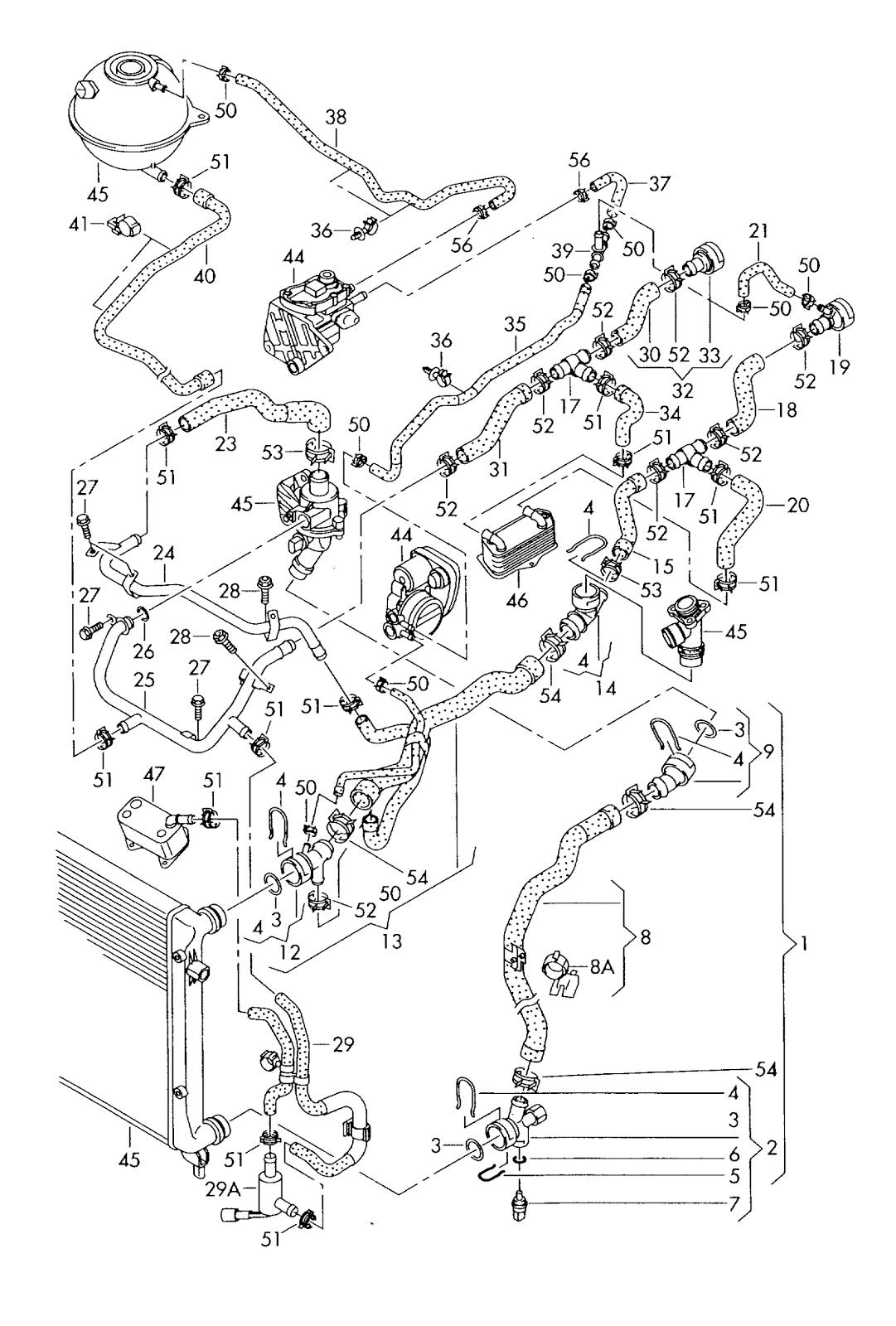Vw Golf 5 Coolant Cooling System 2 0 Ltrw Blx Bly Blr
