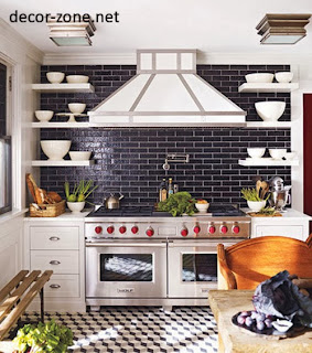kitchen backsplash tile ideas of Metro style in a black color with white shelves