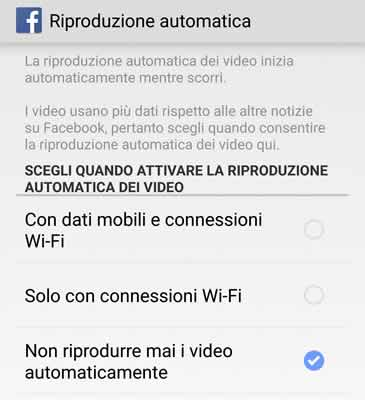 Non riprodurre mai video in automatico