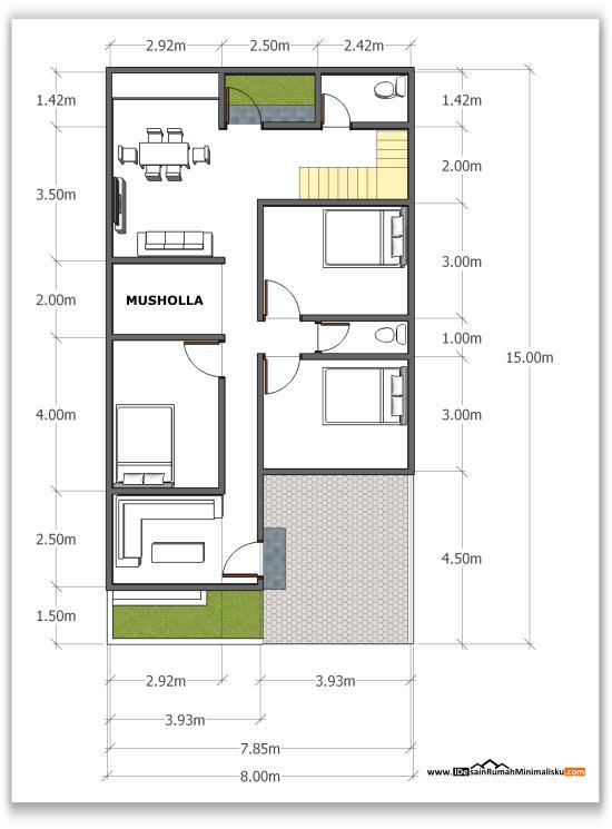 Denah Desain Rumah Minimalis 8x15