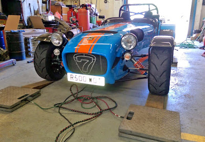 Caterham R500 'Superlight' Duratec going onto the scales - eventually weighing in at 575kg