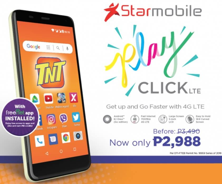 TNT Unveils Starmobile PLAY Click LTE Prepaid Kit for Php2,988