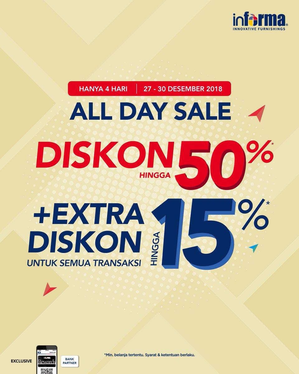 #Informa - Promo All Day Sale Diskon s.d 50% + Extra Diskon s.d 15% (s.d 30 Des 2018)
