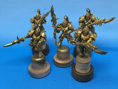 Adeptus Custodes Squad with Halberds WIP Based with Gold