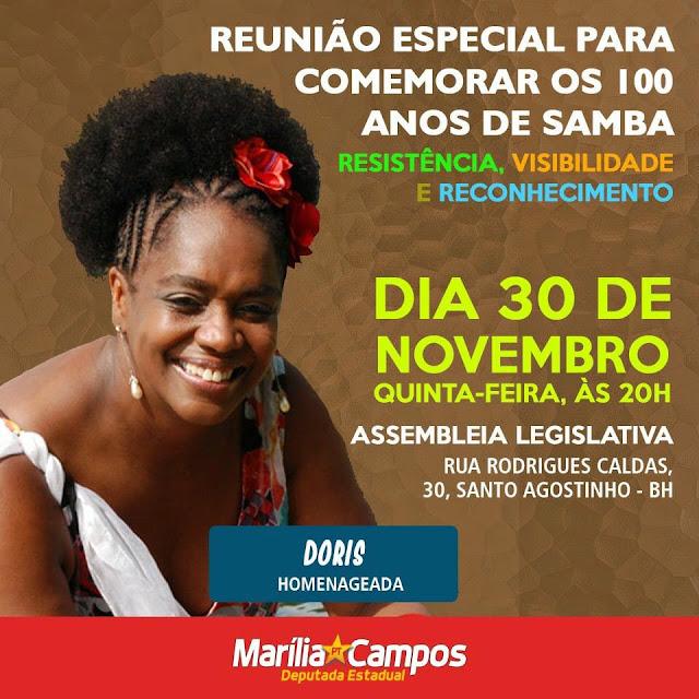Samba Homenageado na Assembléia Legislativa  de Minas com Dóris  Santos