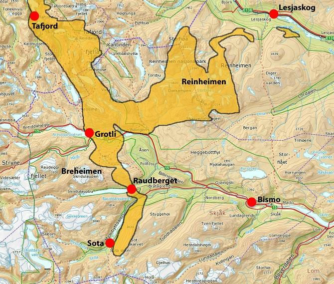 breheimen nasjonalpark kart