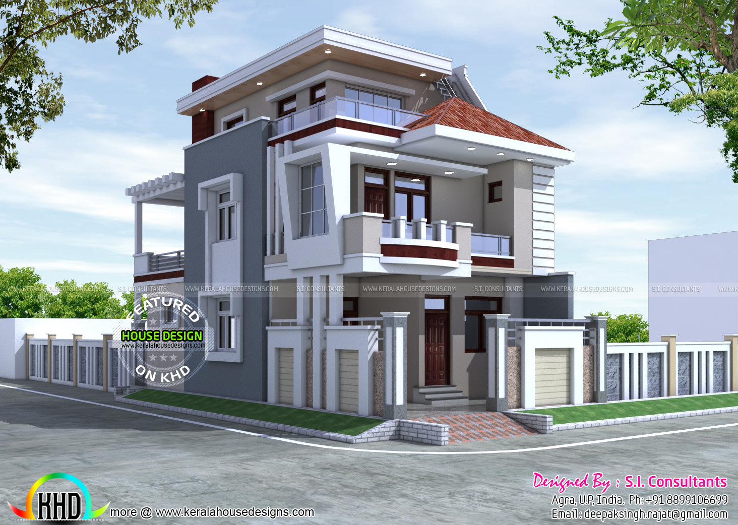 25x50 beautiful modern home kerala home design and floor for Indian house design architect