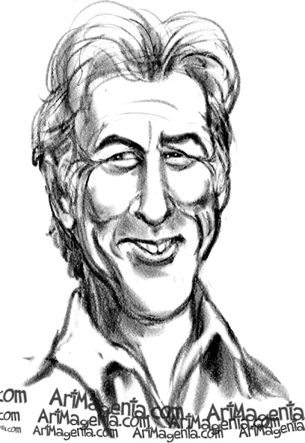 Richard Gere caricature cartoon. Portrait drawing by caricaturist Artmagenta.