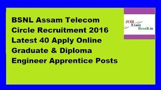 BSNL Assam Telecom Circle Recruitment 2016 Latest 40 Apply Online Graduate & Diploma Engineer Apprentice Posts
