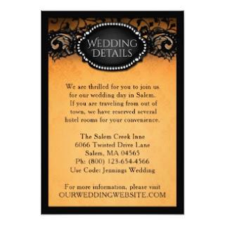 Orange & Black Wedding Details Information Card