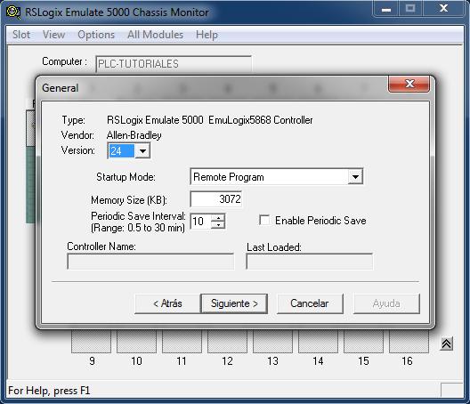 Seleccionar la versión del PLC RSLogix Emulate 5000