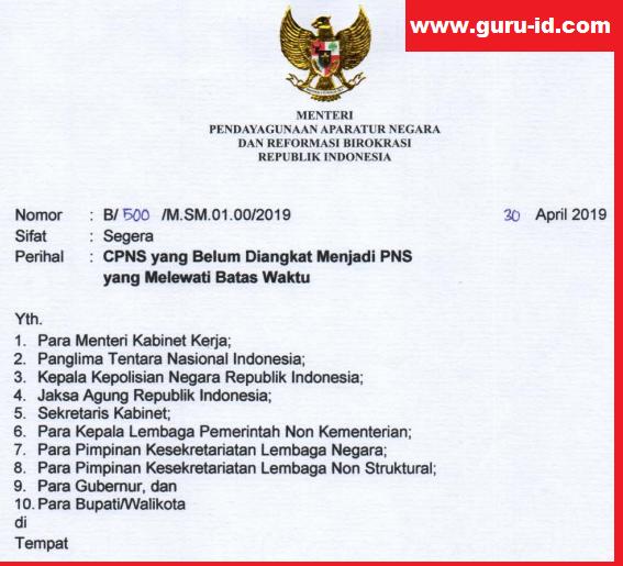 gambar surat edaran menpan rb tentang Pengangkatan menjadi PNS Bagi CPNS