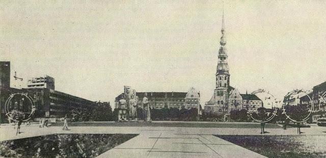 Один из не осуществившихся проектов того, как могла выглядеть площадь Латышских красных стрелков... без музея-мемориала, но зато с памятником стрелкам работы скульптора Валдиса Албергса.