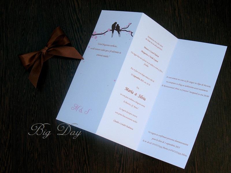 Decojoy Invitatie De Nunta Flori De Cires Si Porumbei