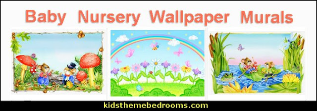 Baby Nursery Wallpaper Murals  baby bedrooms - nursery decorating ideas - girls nursery - boys nursery - baby bedding - themed baby bedrooms - theme ideas for baby nursery - baby rooms - baby bedroom theme ideas - themed nursery decorating ideas