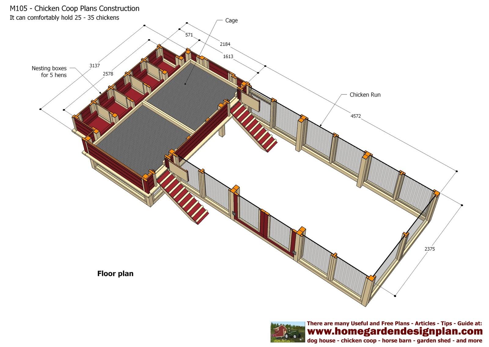 Home Garden Plans M105 Chicken Coop Plans Construction