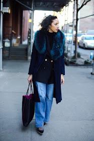 NYFW street style, NYFW, layers in NYC for NYFW, blue fur stole, faux fur, pinstripe blazer, sailor flares, BaubleBar, Reiss blazer, Coach, Ryan Chua