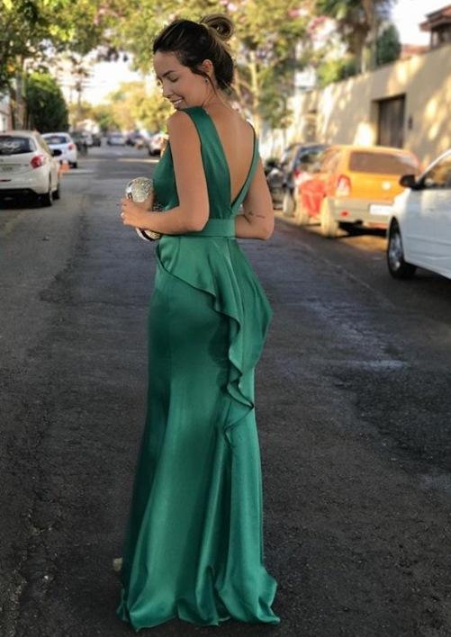 vestido de festa verde esmeralda