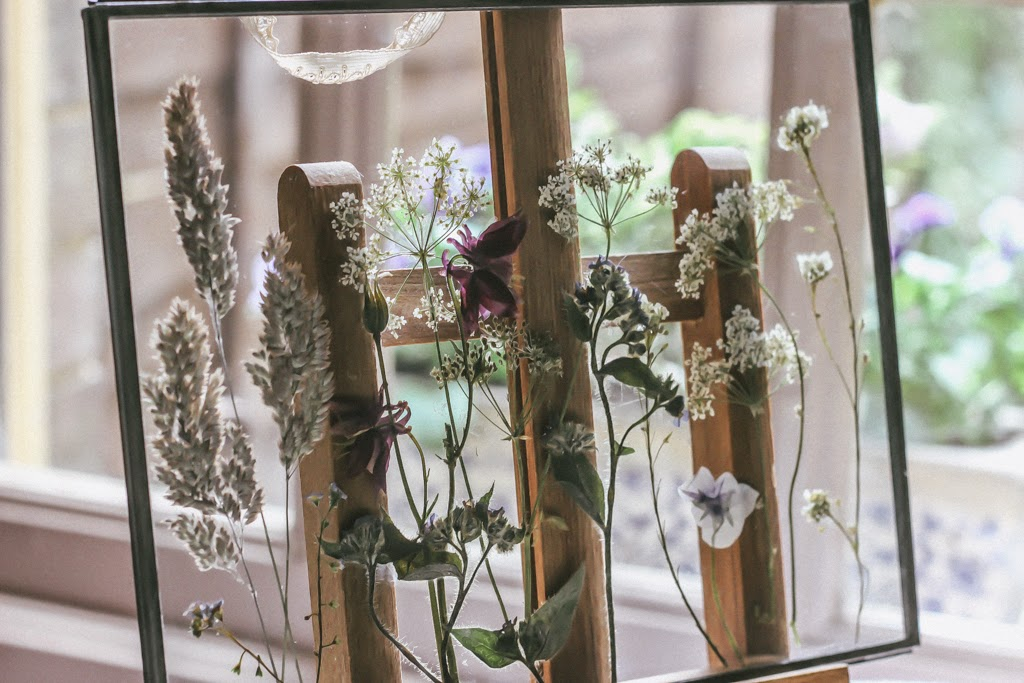Pressed wild flowers in glass frames