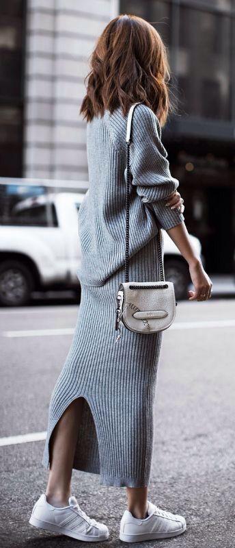 grey knit set + bag + white sneakers
