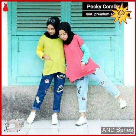 AND272 Baju Atasan Wanita Blouse Pocky Combine BMGShop