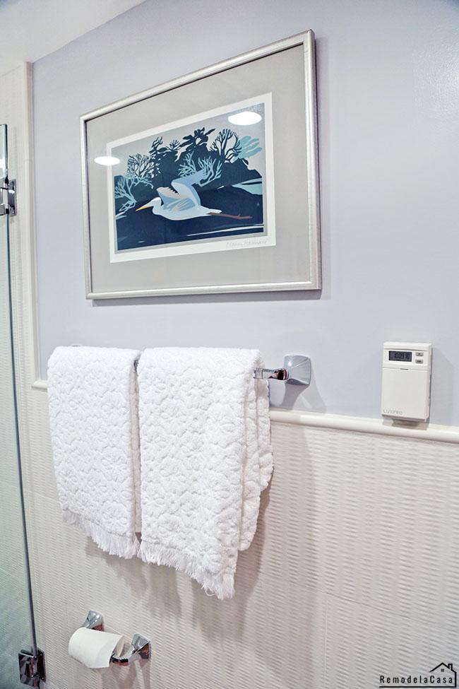 "12"" x  22"" Craft 3D Wicker White wall tile in bathroom"