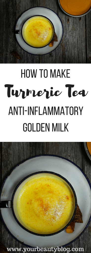 Easy anti-inflammatory turmeric tea also called golden milk.