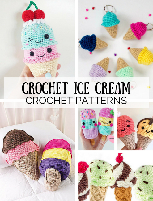 Cute crochet ice cream patterns, crochet ice cream crochet patterns | Happy in Red
