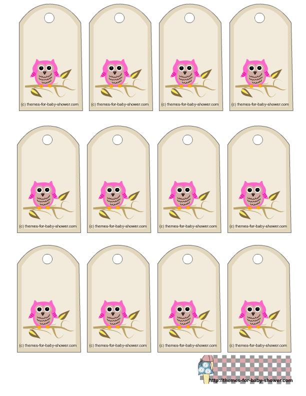 Toppers, stickers o etiquetas para Imprimir Gratis de Búhos Rosas.