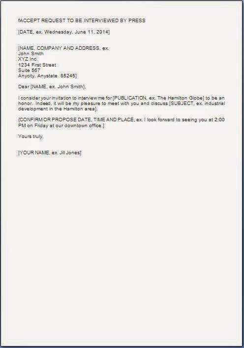 Acceptance Letter Format For Interview