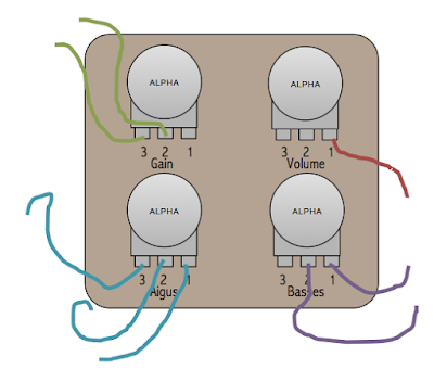 potentiomètre câblage veroboard