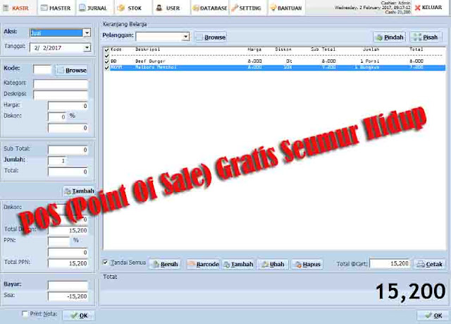 Cash Point : POS ( Point of Sale) Gratis  Seumur Hidup