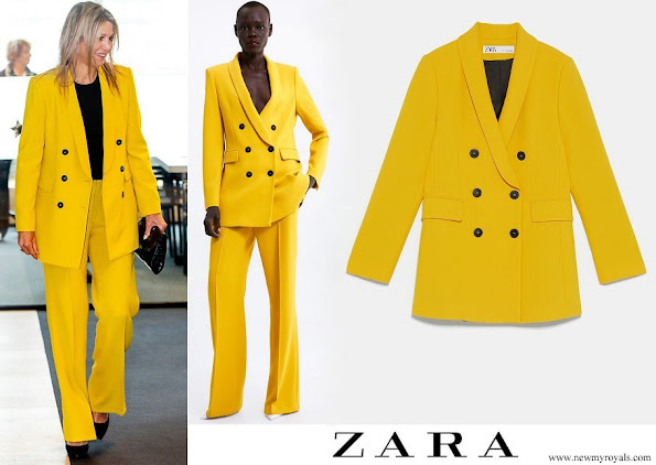 Queen Maxima wore Zara double breasted blazer and trousers