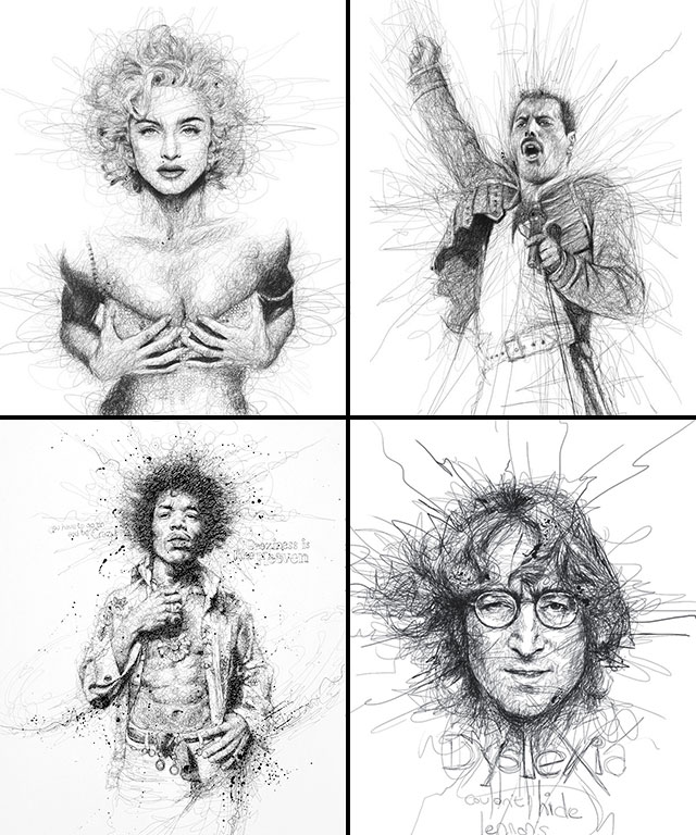 Vince Low, La Dislexia y El Arte del Garabato Retratos Madonna Freddie Mercury Jimi Hendrix John Lennon