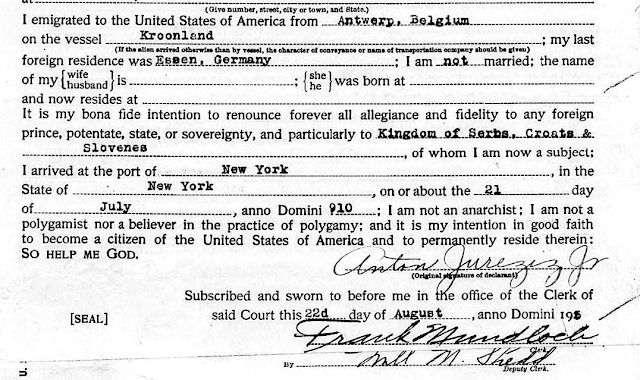 Anton Jureziz Jr naturalization papers